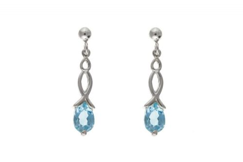Blue Topaz  Sterling Silver Fancy Drop Earrings BP0083